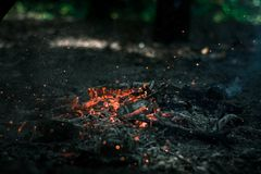 Wind is blowing on coals. After bonfire Stock Images