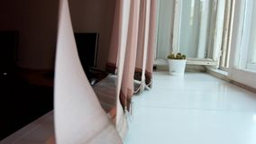 Wind blowing curtains  and big windowsill Stock Photos