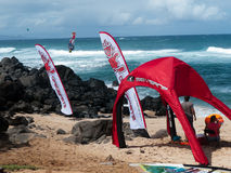 Wind blowing hard at Hookipa beach Maui. October 31 2014, during the Maui Makani Classic windsurfing competition Royalty Free Stock Photo