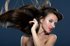 Wind blowing on long hair Royalty Free Stock Photos