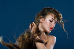 Wind blowing on long hair Royalty Free Stock Images