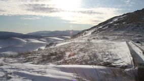 Wind blowing on the snow in the mountains in Abruzzo. stock video footage