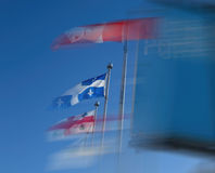 Wind-Blown Flags in Montreal, Canada Stock Images