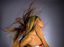 Wind blown hair royalty free stock images