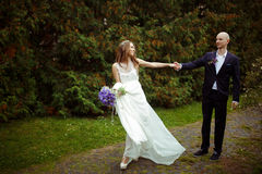 Wind blows away bride's dress while she walks along the path hol Stock Image