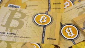 Wind Blows Away Internet Currency Bitcoins Cash. Macro slow motion light wind blows away popular internet currency bitcoins logo paper banknotes stock footage