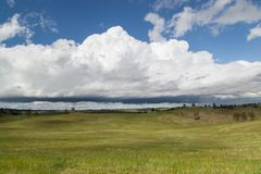 Wind Cave Park Landscape. The dynamic landscape of Wind Cave National Park hills and prairie with an ominous looking storm above stock images