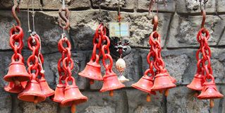 Wind chime. Clay made wind chime in red color Stock Photography
