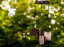 Wind Chime Dog Tags. Wind chimes constructed with dog tags Royalty Free Stock Photography