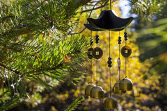 Wind chimes in autumn garden. Closeup wind chimes in autumn garden (happiness, success, power, wealth Royalty Free Stock Photo