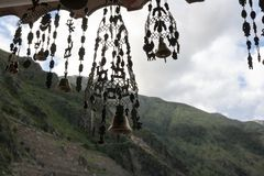 Wind chimes hanging in a shop in the Andes. Ollantaytambo, Peru royalty free stock images