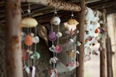 Wind chimes made from seashells royalty free stock photo