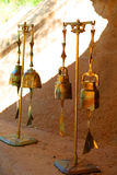 Wind chimes. Suspended handcrafted brass outdoor wind chimes Royalty Free Stock Image