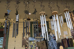Wind chimes. A variety of windchime hanged in the balcony Stock Photography