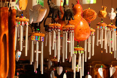 Wind chimes, wood carvings, animal, beautiful, melodic voice wil. L sound when the wind blows Stock Image