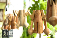Wind chimes. A wooden wind chimes craft Stock Photos