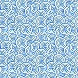Wind clouds seamless pattern. Abstract blue wave water curls texture seamless background. Water, waves, wind or seashells pattern Stock Photos