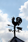 Wind cock sign. Silhouetted on the sky Stock Photos