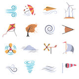 Wind Color Flat Icons Stock Images