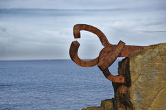 Wind Comb, sculpture by Eduardo Chillida Stock Image