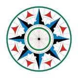 Wind or compass rose or star for marine navigation on a isolated white background. With blue, black and red arrows Stock Images