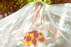 Wind covers bride's face with a veil while she smiles Stock Image