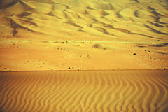 Wind created patterns in the sand dunes of Liwa oasis, United Arab Emirates Royalty Free Stock Photo