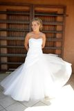 Wind Dress. A brides dress blown by the wind royalty free stock photo