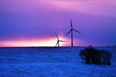 Wind driven electric plant in winter Stock Image