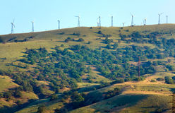 Wind-driven generator on the ridge (Crimea) Royalty Free Stock Image