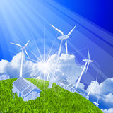 Wind-driven generators & houses Royalty Free Stock Photos