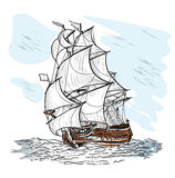 Wind-driven ship. The wind-driven ship swims on a sea Royalty Free Stock Photography