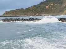 Wind en golf oceaanrand royalty-vrije stock foto
