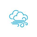 Wind en van het wolkenweer pictogram op witte achtergrond wordt geïsoleerd die Vector illustratie royalty-vrije illustratie