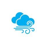 Wind en van het wolkenweer pictogram op witte achtergrond wordt geïsoleerd die Vector illustratie vector illustratie