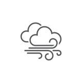 Wind en van het wolkenweer pictogram op witte achtergrond wordt geïsoleerd die Vector illustratie stock illustratie