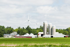 Wind Energy. Wind turbines located on farmland near Lake Benton Minnesota. Corn field in the foreground Stock Image