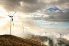 Wind energy. Wind generators on the mountain ridge of Stara Planina mountain in Bulgaria Stock Photography