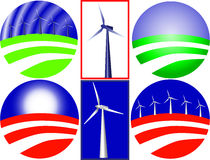 Wind energy. Composition and logo that ca be used on different themes. Vector image is available Royalty Free Stock Photo