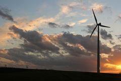Wind Energy 2. Modern wind energy plant during sundown Stock Image