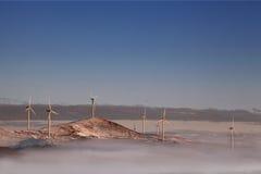 Wind energy. Wind generators on the mountain ridge of Stara Planina mountain in Bulgaria Royalty Free Stock Photos
