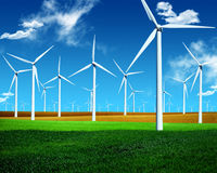 Wind energy. Turbines in plain Stock Image