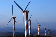 Wind Energy. Wind turbine making green electricity Stock Photos