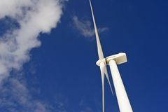 Wind Energy. Top of a modern wind energy plant Stock Image