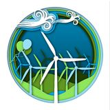 Wind energy concept with wind generator turbines and ballooons on green and blue landscape background. Kinds of energy, part 5. Science for kids. Paper cut Royalty Free Stock Image