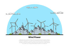 Wind energy concept. Picture of wind turbines with mountains on background, flat style line art concept of renewable wind energy Stock Photo