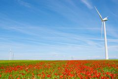 Wind energy concept. Windmills for electric power production, Huesca province, Aragon, Spain Royalty Free Stock Photos