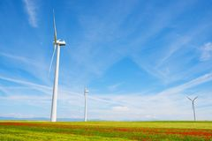 Wind energy concept. Windmills for electric power production, Huesca province, Aragon, Spain Stock Photography