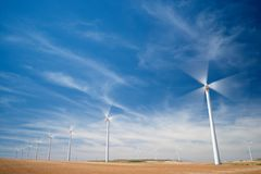 Wind energy concept. Windmills for electric power production, Zaragoza province, Aragon, Spain Royalty Free Stock Photos