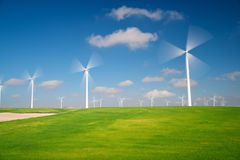 Wind energy concept. Windmills for electric power production, Zaragoza province, Aragon, Spain Royalty Free Stock Photo